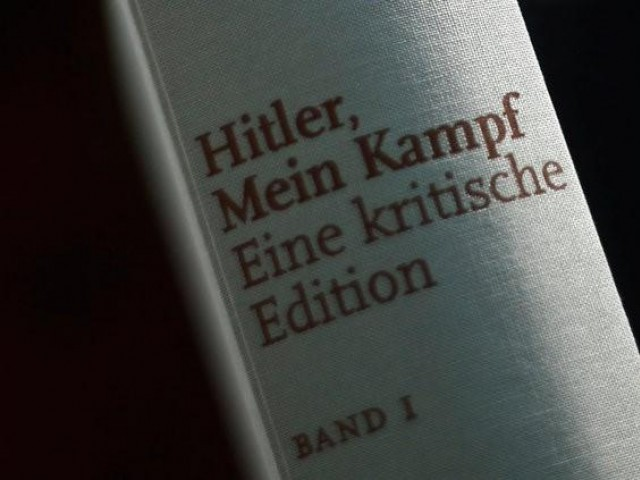 A copy of the book 'Hitler, Mein Kampf. A Critical Edition' is displayed for media prior to a news conference in Munich, Germany. PHOTO: REUTERS