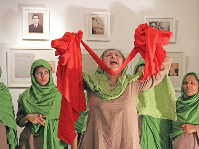 Sangat, a feminist people's theatre and music group from Lahore, performed Chog Kusambey Di at The Second Floor on Thursday night. PHOTO: AYESHA MIR/EXPRESS