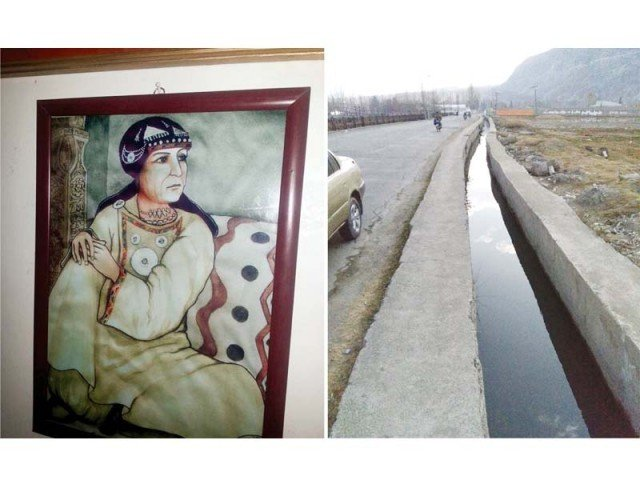 Portrait of Dadi Jawari, a 17th century ruler of Gilgit, and one of the two irrigation channels she got built between 1630 and 1660 AD. PHOTO: EXPRESS