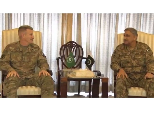 Army chief Gen Qamar Bajwa meets Commander RSM Gen Nicholson at the GHQ on Monday. ISPR SCREEN GRAB