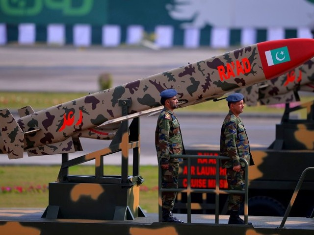 Pakistani army soldiers travel on a vehicle carrying cruise missile Ra'ad during the Pakistan Day military parade in Islamabad on March 23, 2016. PHOTO: REUTERS   Pakistan National Day commemorates the passing of the Lahore Resolution, when a separate nation for the Muslims of The British Indian Empire was demanded on March 23, 1940. / AFP PHOTO / AAMIR QURESHI