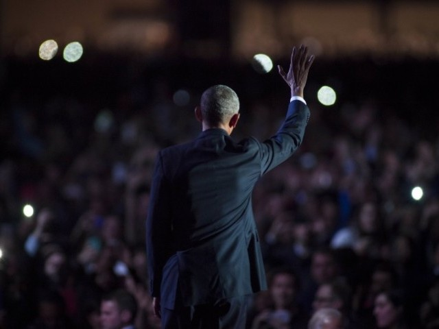 US President Barack Obama waves to supporters after delivering his farewell speech at McCormick Place on January 10, 2017 in Chicago, Illinois. PHOTO: AFP