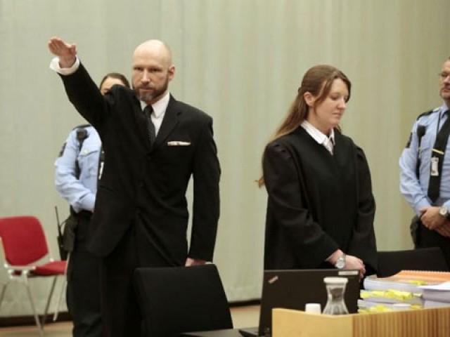 Breivik makes Nazi salute at court hearing. PHOTO: AFP