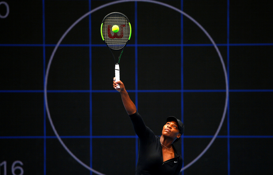 Serena Williams of the US hits a shot during a training session ahead of the Australian Open tennis tournament in Melbourne, Australia. PHOTO: REUTERS