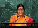 India's Minister of External Affairs Sushma Swaraj addresses the United Nations General Assembly PHOTO: REUTERS
