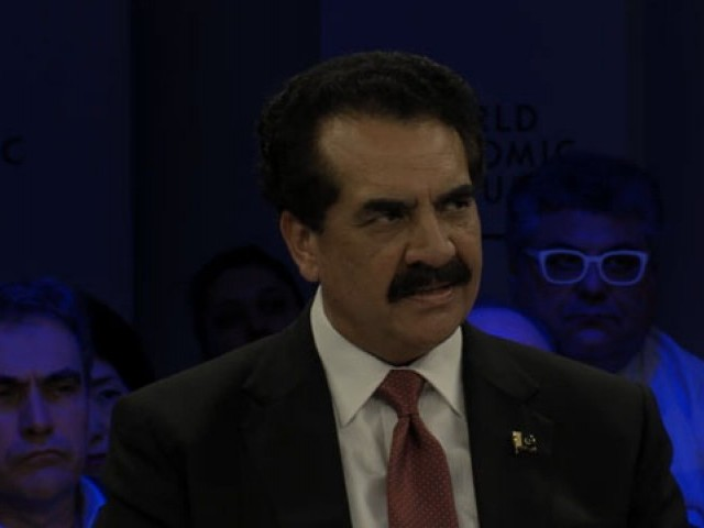 Raheel Sharif speaks during the panel discussion, Terrorism in the Digital Age at the World Economic Forum on Tuesday. WEF screen grab