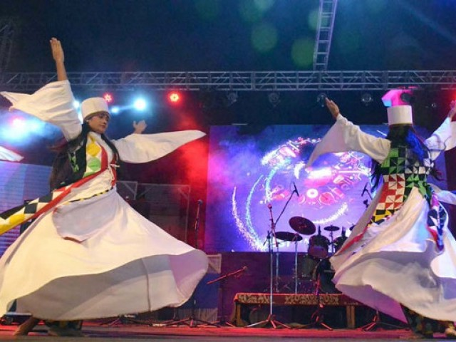 Artists perfom traditional dance during Lahooti Melo at Hyderabad Club on January 22, 2017. PHOTO: APP
