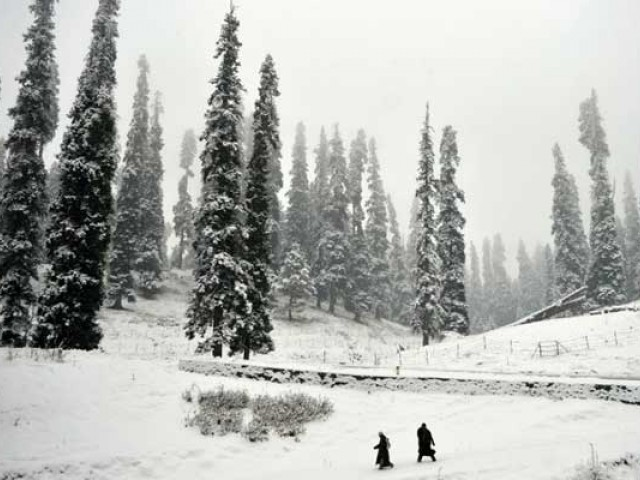Kashmiri walkers cross a snow covered area at Gulmarg, some 55 km north of Srinagar. PHOTO: AFP