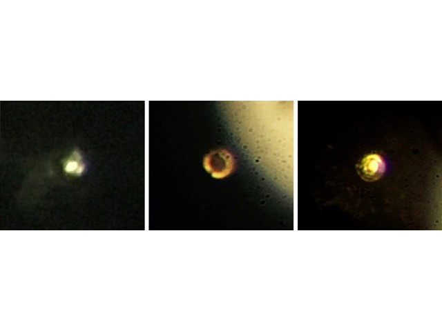 A combination of still photos taken from video shows hydrogen magnified at different stages of compression, from gas form to metallic, provided January 26, 2017. PHOTO: REUTERS