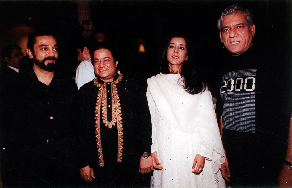 Film star Kamal Hassan, Anup Jalota, ? and Om Puri. Express archive photo