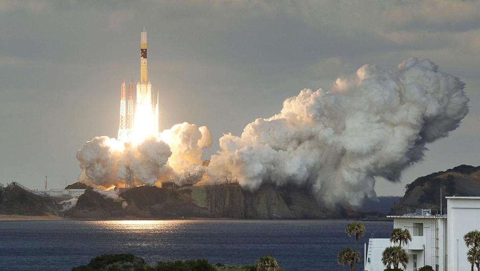 H-IIA rocket carrying Japan's first military communications satellite lifts off from Tanegashima spaceport on Tanegashima Island, southern Japan. PHOTO: REUTERS