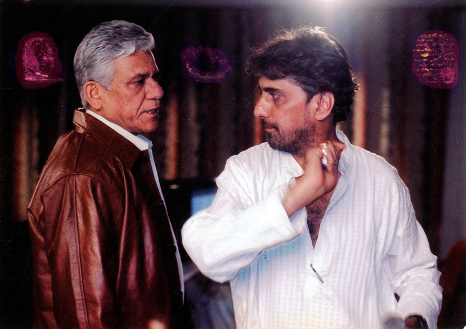 Film star Om Puri and Director Pradeep Maini on the set of MISS INDIA - the Mystery. Express archive photo
