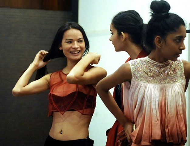 Nepal's first transgender model Anjali Lama (L) hopes her turn at India's Lakme Fashion Week will make a difference in the battle for acceptance PHOTO: AFP