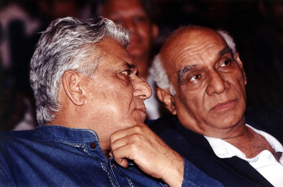 Film star Om Puri and director Yash Chopra. Express archive photo