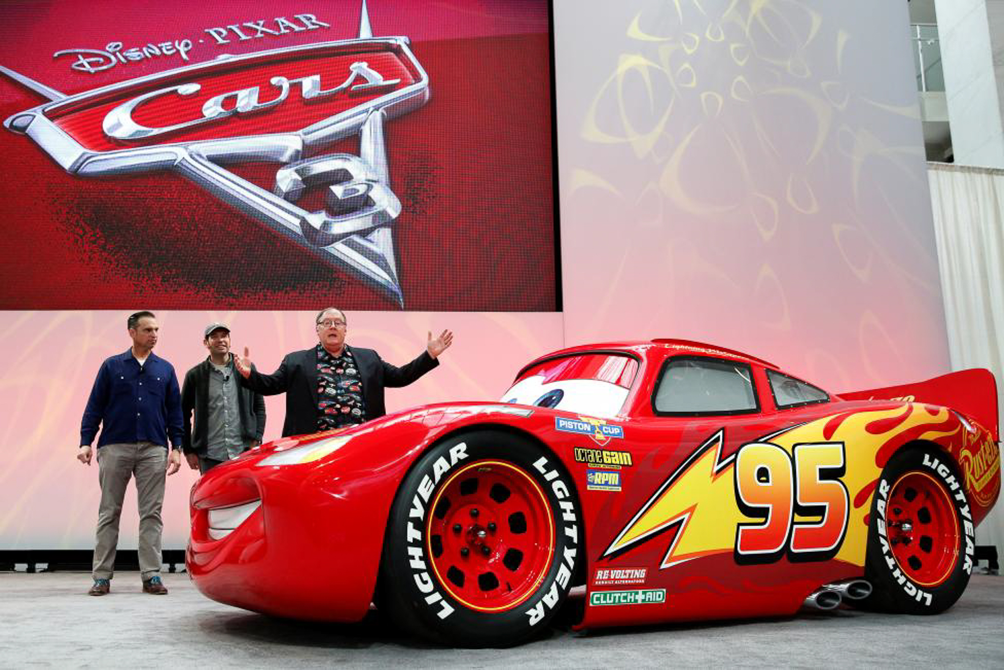 John Lasseter, Chief Creative Officer of Walt Disney and Pixar Animation Studios, introduces Lightning McQueen from Disney Pixar's 'Cars 3'.  PHOTO: REUTERS