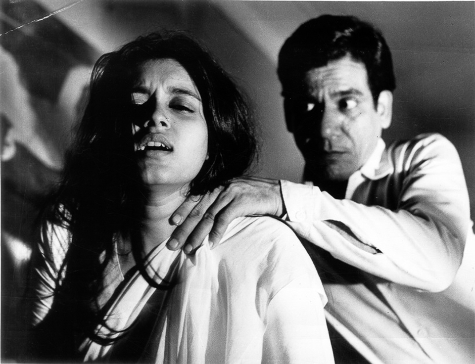 Actor Om Puri and Supriya Pathak in film BAHU KI AWAAZ. Express archive photo