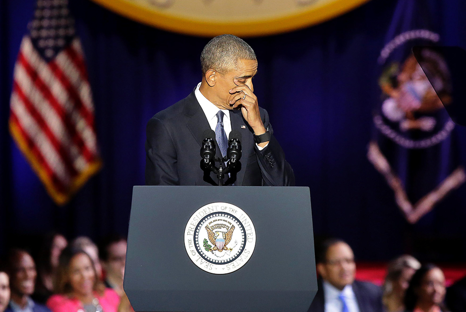 US President Barack Obama cries as he speaks during his farewell address in Chicago, Illinois on January 10, 2017. PHOTO: AFP