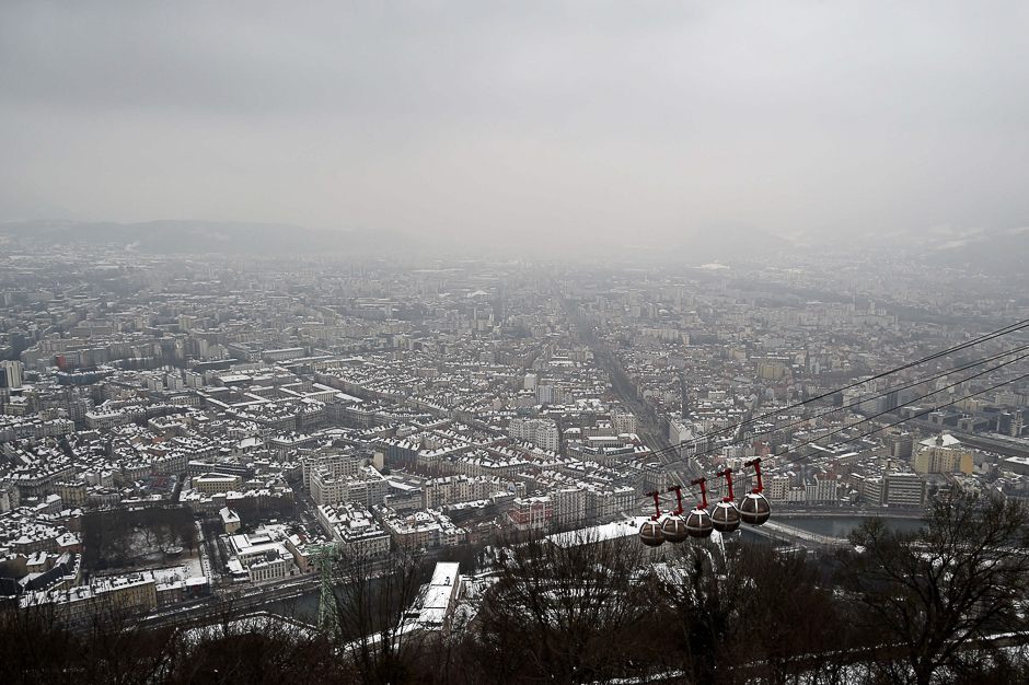 A view of the city of Grenoble through a haze of pollution. PHOTO: AFP