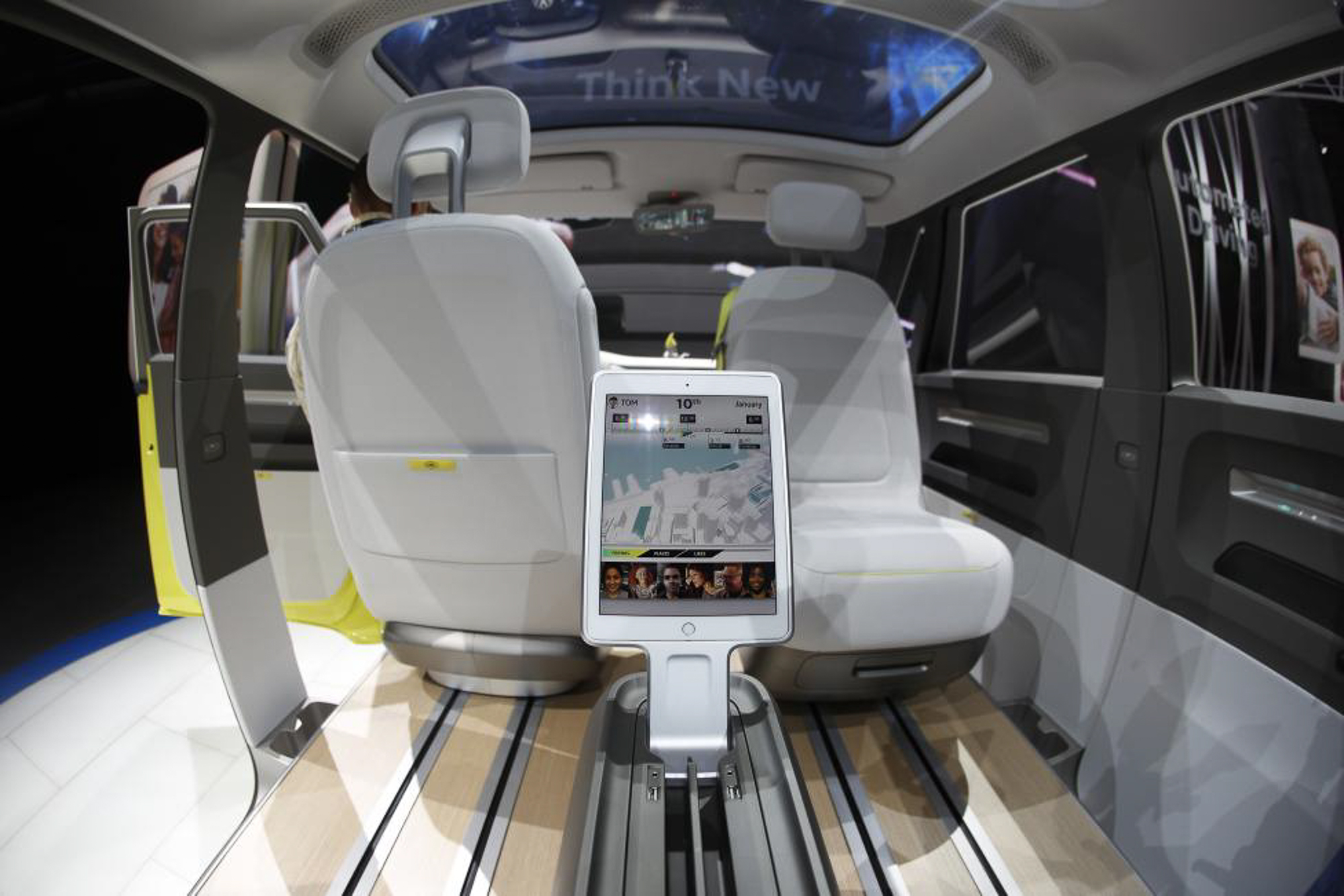 Interior view of the Volkswagen I.D. Buzz electric concept vehicle. PHOTO: REUTERS
