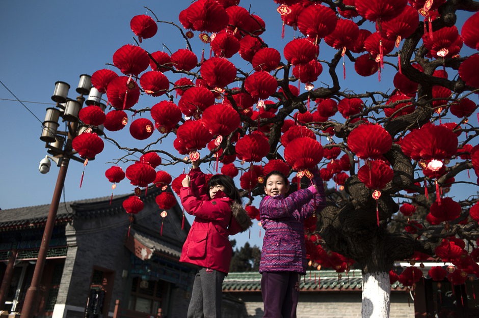Chinese children pose for a photograph beside a lantern tree display ahead of the Lunar New Year in Beijing. PHOTO: AFP
