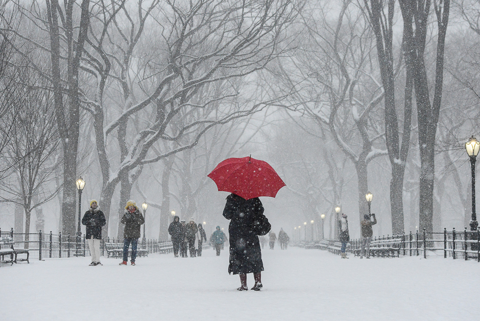 A woman walks through Central Park with a red umbrella during a snowstorm in New York City, US. PHOTO: REUTERS