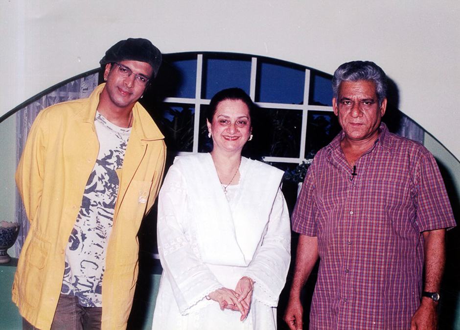 Actor Javed Jaffrey, Saira Bano and Om Puri. Express archive photo
