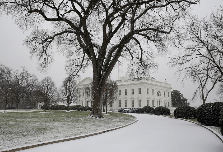 The White House driveway is covered in snow in Washington, US. PHOTO: REUTERS