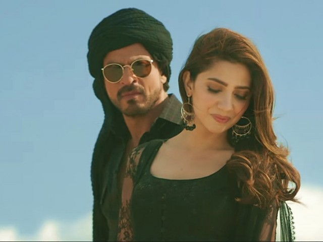 Shah Rukh Khan and Mahira Khan in a song sequence from their movie Raees. SCREEN GRAB