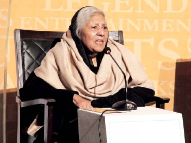 Famous writer Bano Qudsia speaks at a session on Day II. PHOTO: ABID NAWAZ/EXPRESS