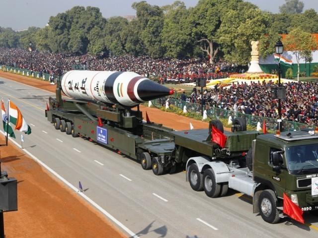 A surface-to-surface Agni V missile is displayed during the Republic Day parade in New Delhi. PHOTO: REUTERS / FILE