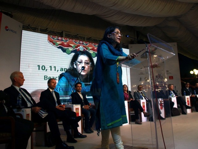 Ayesha Jalal delivers the keynote address at the inauguration of KLF's 8th edition. Photo: ATHAR KHAN/EXPRESS