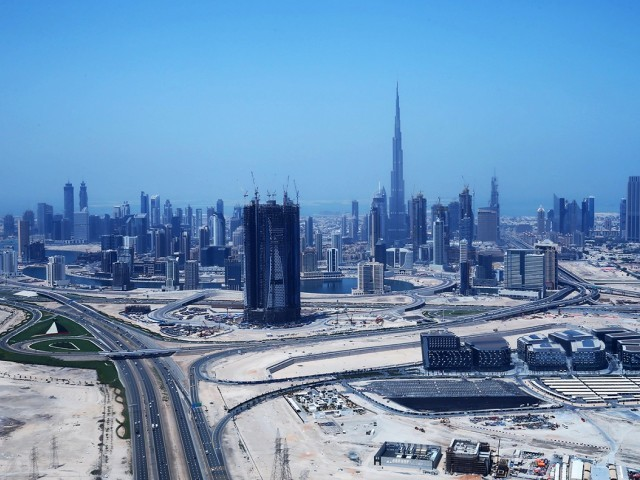 An ariel view shows the Burj Khalifa, the world's tallest tower, dominating the Dubai skyline. PHOTO: AFP