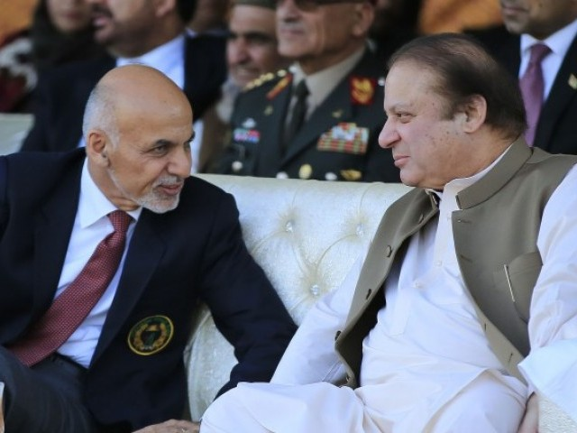 Afghan President Ashraf Ghani with Prime Minister Nawaz Sharif. PHOTO: AFP