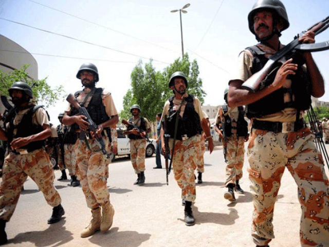 A file photo of SIndh Rangers.  PHOTO: AFP