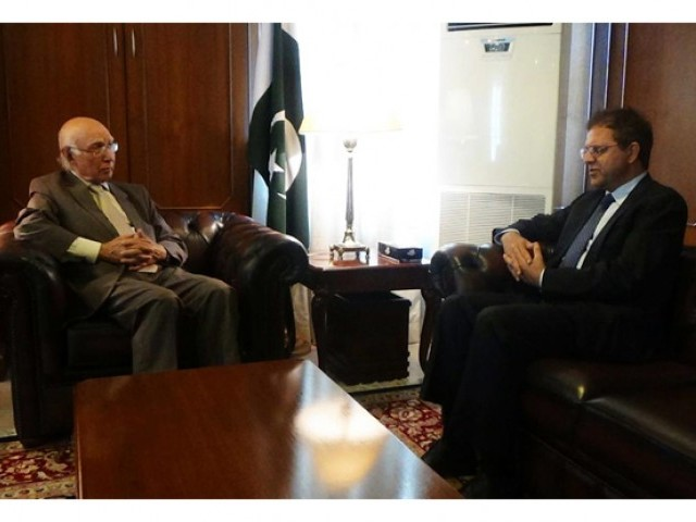 In this file photo, Prime Minister's Adviser on Foreign Affairs Sartaj Aziz meeting with Afghan Ambassador in Islamabad Dr Hazrat Omar Zakhilwal. PHOTO: ONLINE