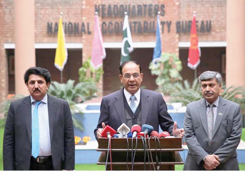 NAB Chairman Qamar Zaman Chaudhry speaks to officials. PHOTO: ONLINE