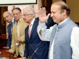 Prime Minister Nawaz Sharif pictured alongside senior PML-N leaders. PHOTO: PPI