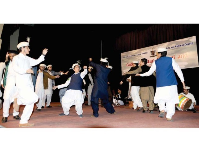 Artists from Gilgit-Baltistan perform at GCU. PHOTO: EXPRESS