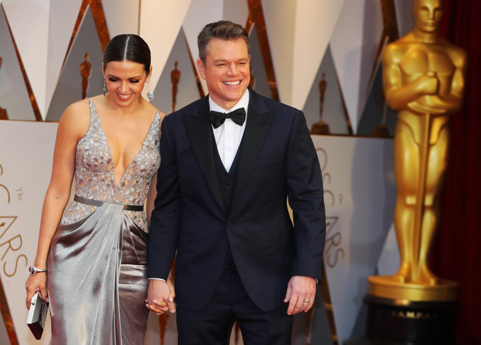 Matt Damon and his wife Luciana Barroso. REUTERS/Mike Blake