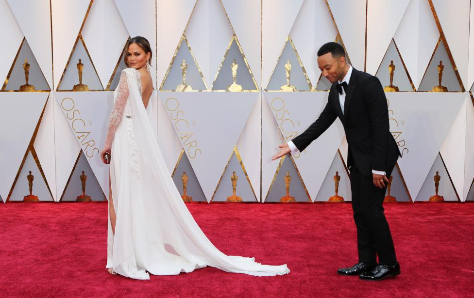 Chrissy Teigen and John Legend. REUTERS/Mike Blake