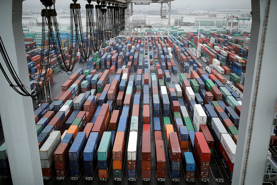 Shipping containers sit stacked at the Port 2000 terminal in the Port of Le Havre, France. PHOTO: REUTERS