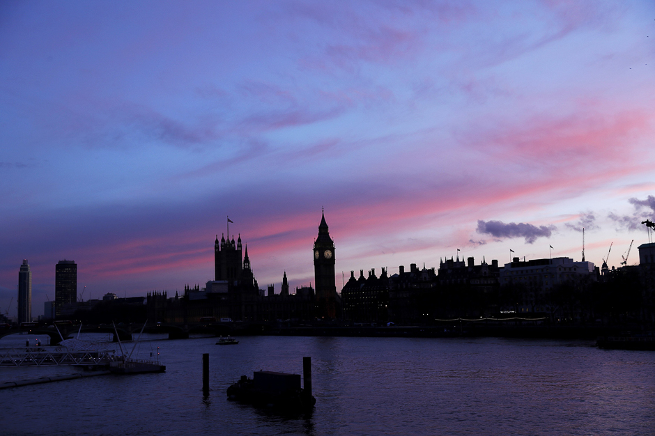 The sun sets behind the Houses of Parliament after an attack on Westminster Bridge in London. PHOTO: REUTERS