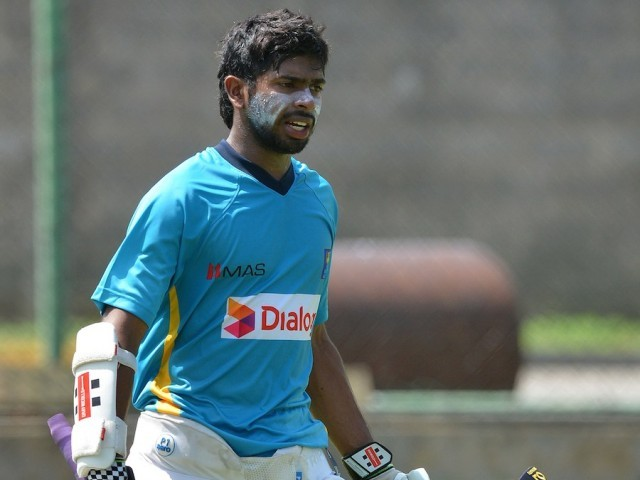 Niroshan Dickwella joins the Sri Lanka nets in Colombo. PHOTO: AFP