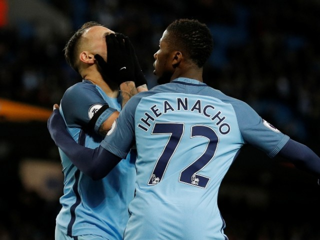 Manchester City's Nicolas Otamendi reacts after a missed chance as Kelechi Iheanacho looks on against Stoke City on March 8, 2017. PHOTO: REUTERS