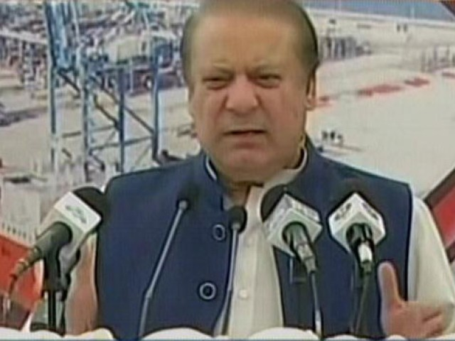 Prime Minister Nawaz Sharif addressing a public gathering in Gwadar on March 16, 2017. EXPRESS NEWS SCREEN GRAB