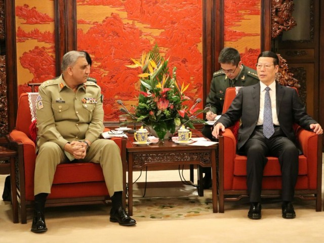 Army chief Gen Qamar Bajwa meets CHinese civil and military leadership in China on Thursday. PHOTO: ISPR