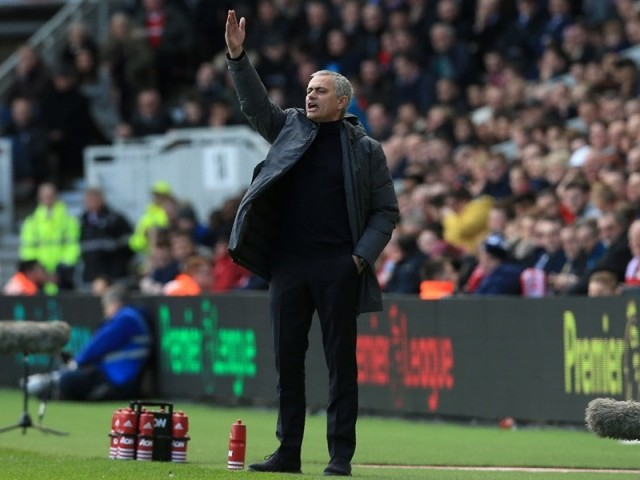 Manchester United's Portuguese manager Jose Mourinho gestures on the touchline during the English Premier League football match between Middlesbrough and Manchester United at Riverside Stadium in Middlesbrough, north east England on March 19, 2017.  PHOTO: AFP