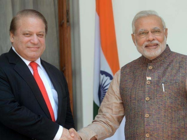 Prime Minister Nawaz Sharif with his Indian counterpart Narendar Modi. PHOTO: AFP