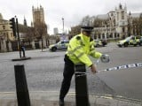 Police tapes off Parliament Square after reports of loud bangs, in London, Britain, March 22, 2017. PHOTO: REUTERS