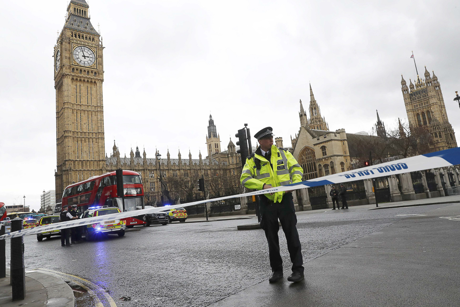 Police tapes off Parliament Square after reports of loud bangs, in London, Britain. PHOTO: REUTERS